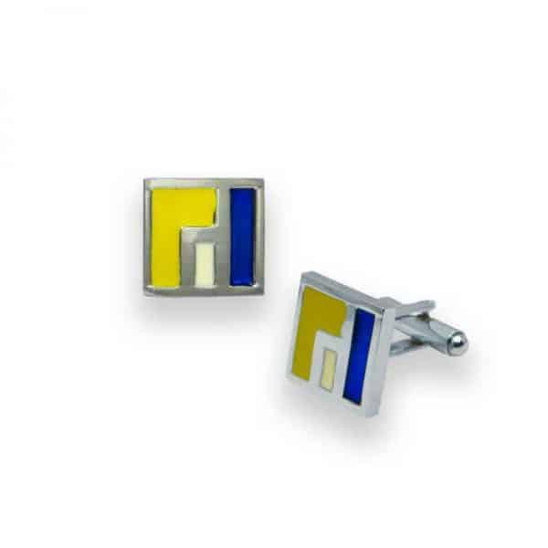 CUFFLINKS สี่เหลี่ยมสีเหลือง CL-030 1