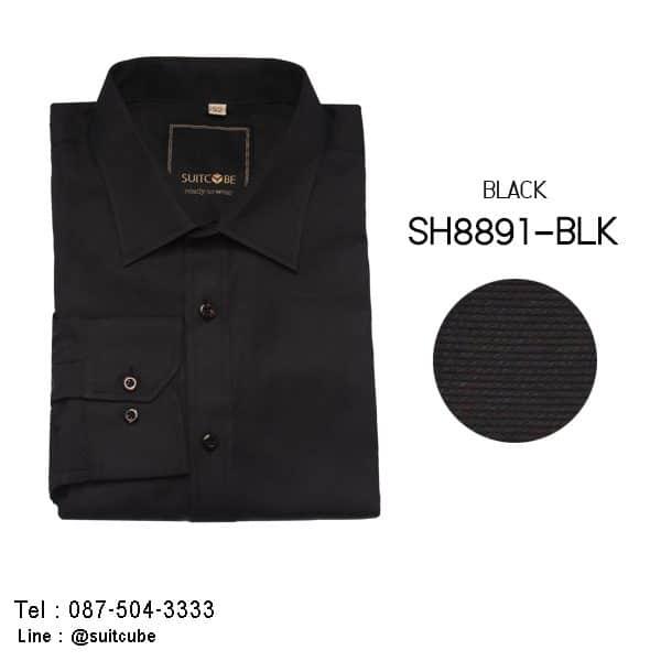 เสื้อเชิ้ตสีดำ SH8891-BLK 1